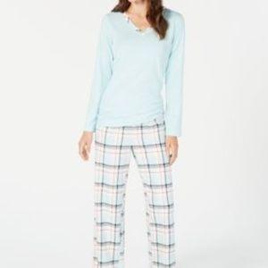Charter Club Flannel Printed 2PC Pajama Set Aqua